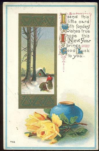 NEW YEAR GOOD LUCK POSTCARD WITH SNOWY SCENE, Postcard