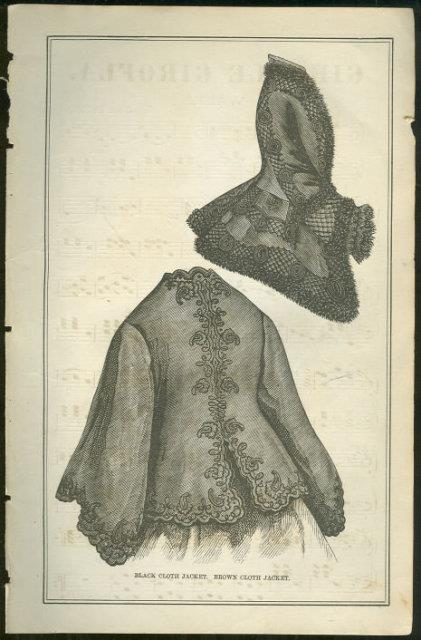 Image for BLACK CLOTH JACKET PAGE FROM 1876 PETERSON'S MAGAZINE
