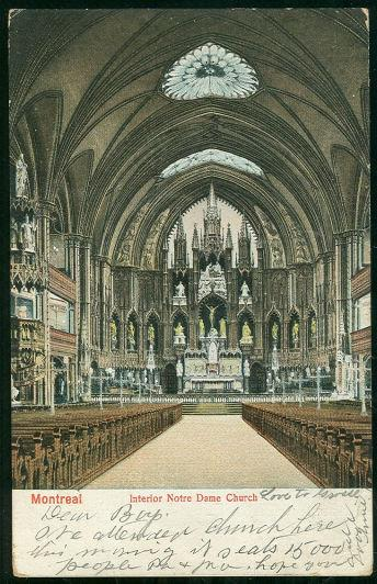 UNDIVIDED POSTCARD NOTRE DAME CHURCH, INTERIOR, MONTREAL, ONTARIO, CANADA, Postcard