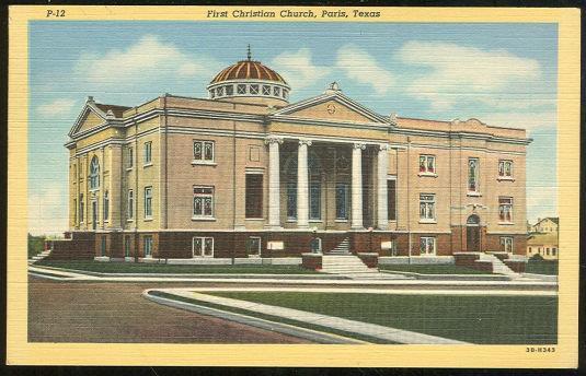 FIRST CHRISTIAN CHURCH, PARIS, TEXAS, Postcard