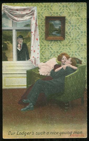 COMIC POSTCARD OF A KISSING LODGER, SUCH A NICE MAN, Postcard
