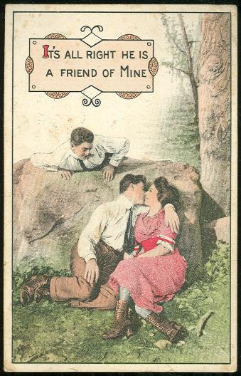 KISSING COUPLE WITH FRIEND LOOKING ON, Postcard