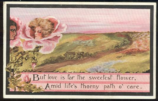 FLORAL MAN AND WOMAN, LOVE IS SWEETEST FLOWER, Postcard