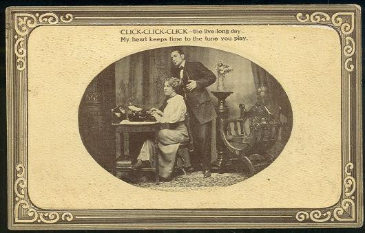 VICTORIAN COURTING COUPLE WITH SECRETARY AND BOSS, Postcard