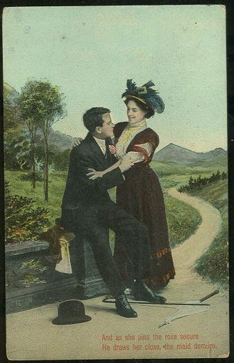 VICTORIAN COURTING COUPLE SHE PINS THE ROSE, Postcard