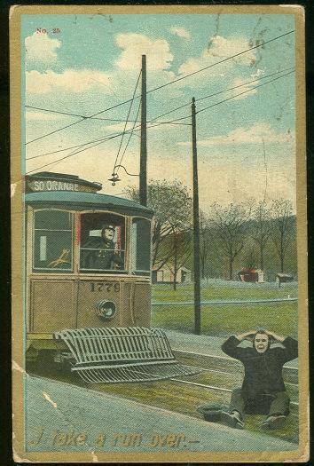 Image for COMIC POSTCARD OF MAN SITTING ON TROLLEY TRACKS