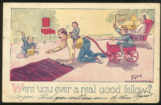 UNDIVIDED POSTCARD FATHER PLAYING WITH SONS ON FLOOR, Postcard