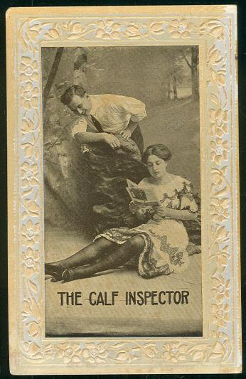 MAN ADMIRING LOVELY LADY THE CALF INSPECTOR, Postcard
