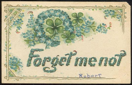 FORGET ME NOT POSTCARD WITH FOUR LEAF CLOVERS, Postcard