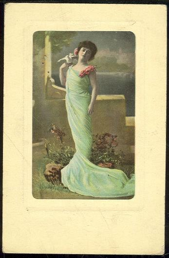 LOVLEY LADY IN BLUE DRESS WITH DOVE, Postcard