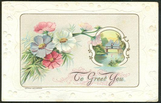 FLOWERS AND A BOY FISHING ON A BRIDGE, TO GREET YOU, Postcard