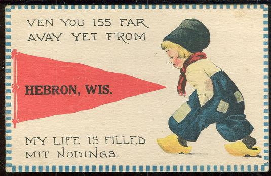 POSTCARD OF DUTCH BOY FROM HEBRON, WISCONSIN, Postcard