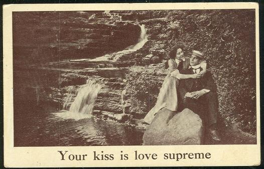 VICTORIAN COURTING COUPLE YOUR KISS IS LOVE SUPREME, Postcard