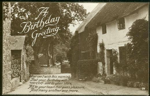 BIRTHDAY GREETING POSTCARD WITH QUAINT ENGLISH VILLAGE, Postcard