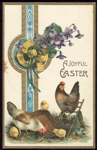 Image for JOYFUL EASTER POSTCARD WITH CHICKENS AND CHICKS