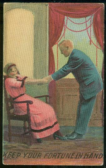 VICTORIAN COURTING COUPLE KEEP YOUR FORTUNE IN HAND, Postcard