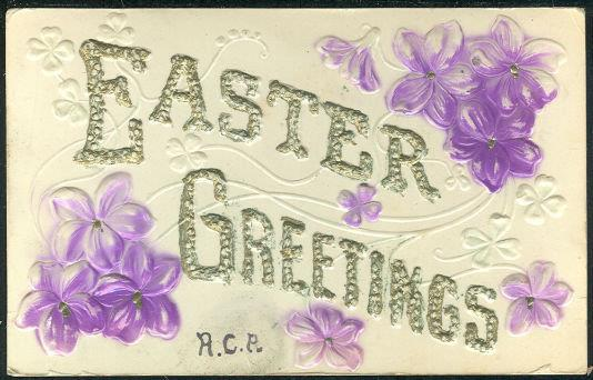 Image for EMBOSSED EASTER GREETINGS POSTCARD WITH PURPLE FLOWERS