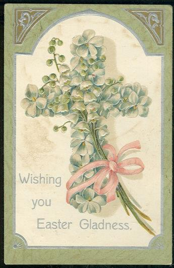 Image for WISHING EASTER GLADNESS POSTCARD WITH FLORAL CROSS