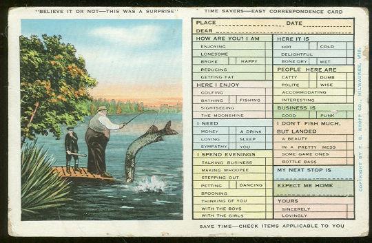 TIME SAVERS EASY CORRESPONDENCE POSTCARD, Postcard
