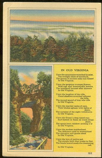 IN OLD VIRGINIA WITH MOUNTAINS AND BRIDGE, Postcard