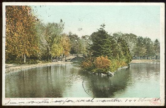 LAKE IN ELM PARK, WORCESTER, MASSACHUSETTS, Postcard