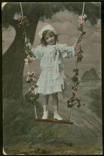 BIRTHDAY POSTCARD WITH LITTLE GIRL IN FLOWER SWING, Postcard