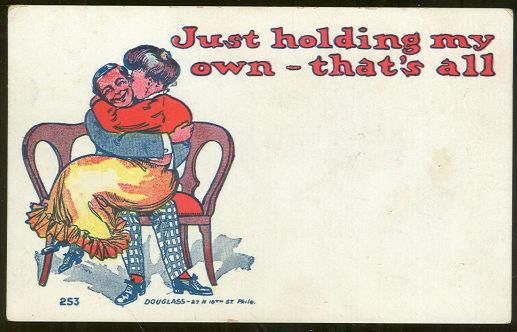 COMIC POSTCARD OF VICTORIAN KISSING COUPLE, Postcard