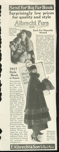 1916 LADIES HOME JOURNAL ALBRECHT QUALITY FURS MAGAZINE ADVERTISEMENT, Advertisement