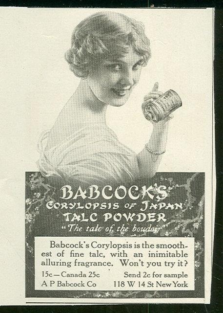 1916 LADIES HOME JOURNAL BABCOCK'S CORYLOPSIS OF JAPAN TALC POWDER ADVERTISEMENT, Advertisement
