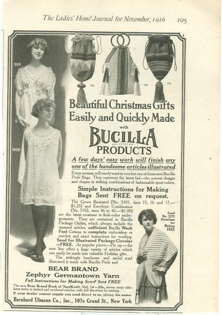 1916 LADIES HOME JOURNAL CHRISTMAS GIFTS MADE WITH BUCILLA PRODUCTS MAGAZINE ADVERTISEMENT, Advertisement