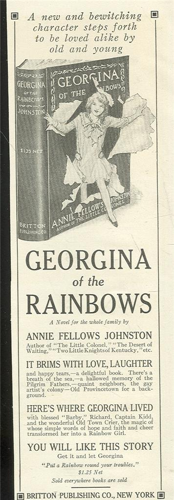 Image for 1916 LADIES HOME JOURNAL ADVERTISEMENT FOR GEORGINA OF THE RAINBOWS BOOK