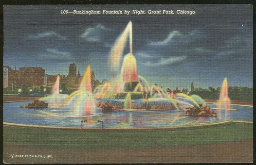 BUCKINGHAM FOUNTAIN BY NIGHT, GRANT PARK, CHICAGO, ILLINOIS, Postcard