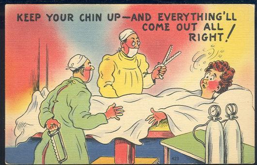COMIC POSTCARD OF LADY HAVING AN OPERATION, Postcard