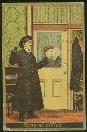 VICTORIAN KISSING WORKING COUPLE, BUSY AT OFFICE, Postcard