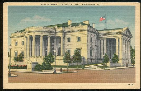 MEMORIAL CONTINENTAL HALL, WASHINGTON D.C., Postcard