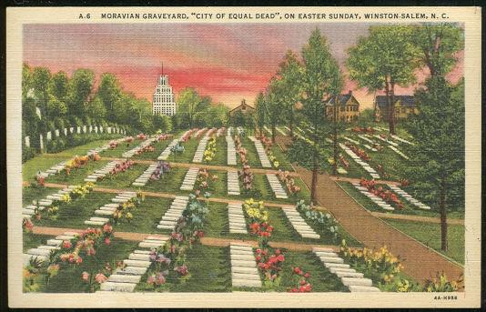 MORAVIAN GRAVEYARD, CITY OF EQUAL DEAD ON EASTER SUNDAY, WINSTON SALEM, NORTH CAROLINA, Postcard