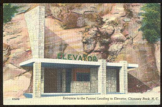 ENTRANCE TO ELEVATOR CHIMNEY ROCK, NORTH CAROLINA, Postcard