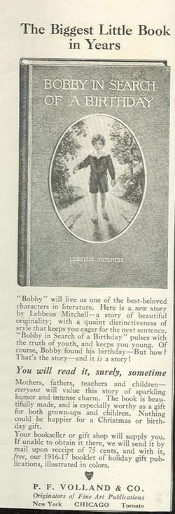 Image for 1916 LADIES HOME JOURNAL BOBBY IN SEARCH OF A BIRTHDAY MAGAZINE ADVERTISEMENT