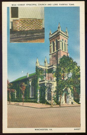 CHRIST EPISCOPAL CHURCH AND LORD FAIRFAX TOMB, WINCHESTER, VIRGINIA, Postcard
