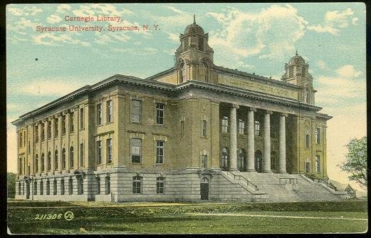 CARNEGIE LIBRARY, SYRACUSE UNIVERSITY, SYRACUSE, NEW YORK, Postcard