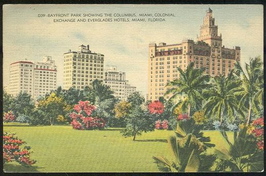 BAYFRONT PARK, SHOWING HOTELS, MIAMI FLORIDA, Postcard