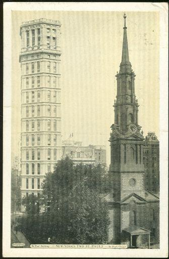 NEW YORK'S TWO ST. PAULS, ST. PAUL BUILDING AND ST. PAUL'S CHAPEL, Postcard