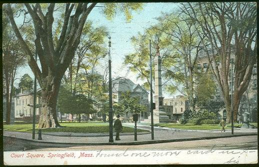 COURT SQUARE, SPRINGFIELD, MASSACHUSETTS, Postcard
