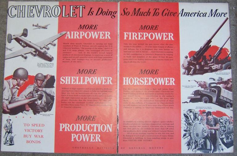 Image for 1944 CHEVEROLT WORLD WAR II DOUBLE PAGE MAGAZINE LIFE MAGAZINE ADVERTISEMENT
