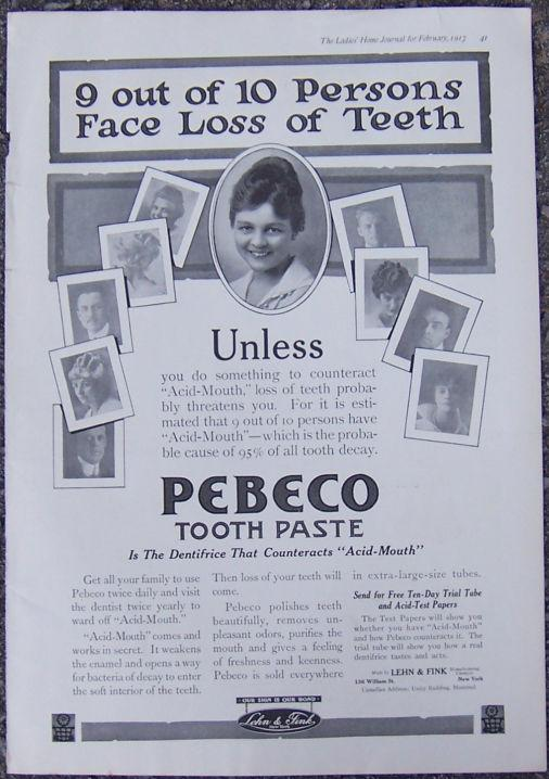 Image for 1917 LADIES HOME JOURNAL PEBECO TOOTHPASTE MAGAZINE ADVERTISEMENT