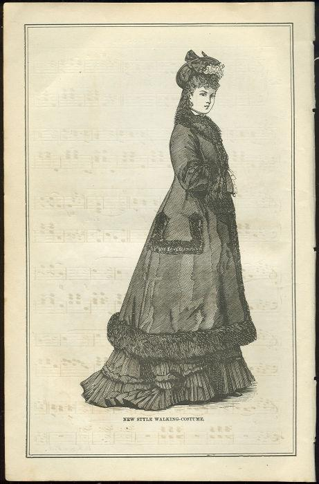 Image for NEW STYLE WALKING COSTUME PAGE FROM 1876 PETERSON'S MAGAZINE
