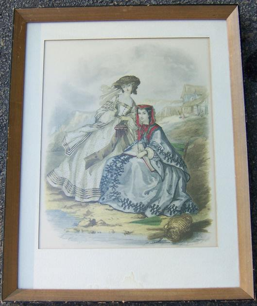 Image for FRAMED COLORED FASHION PRINT OF TWO VICTORIAN LADIES