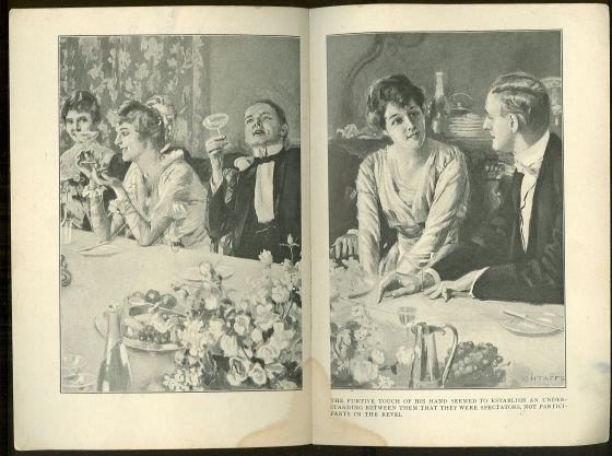 DOUBLE PAGE VICTORIAN BOOK ILLUSTRATION BY CHTAFFS, VICTORIAN DINNER PARTY
