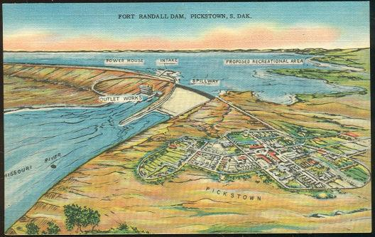 FORT RANDALL DAM, PICKSTOWN, SOUTH DAKOTA, Postcard