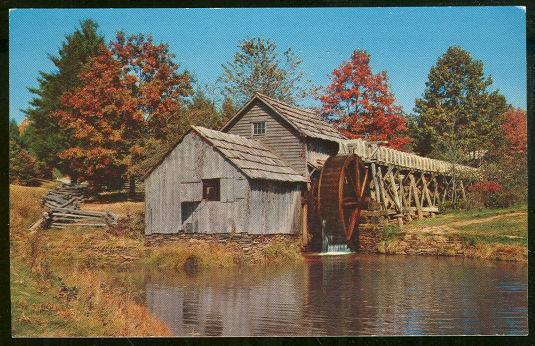 AUTUMN SCENE SHOWING MABRY MILL ON THE BLUE RIDGE PARKWAY, Postcard